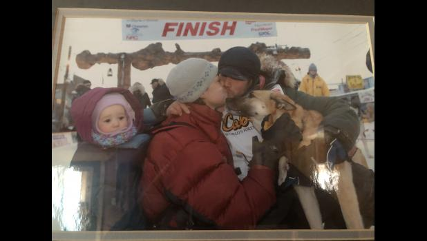 Babe, Ramey, Becca and Ava Smyth at the finish line in Nome.