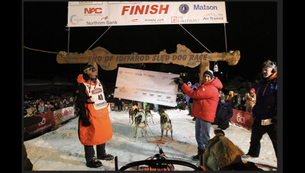 2020 Iditarod Champion Thomas Waerner at the finishline in Nome. For the first time since 1973, there won't be an Iditarod coming to Nome.