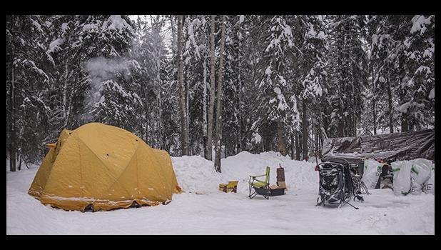 Setting up camp is one of the main tasks of handlers on the Quest. Pictured is Emily and Richie's 36 hour camp site in Dawson City